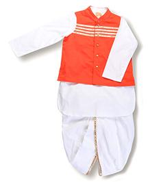 Hugsntugs Kurta With Dhoti & Waistcoat - White & Orange