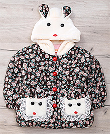 Adores Floral Jacket With Bunny Design - Brown