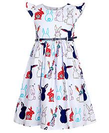 Bella Moda Bunny Printed Frock - Multi Color