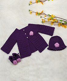 The Original Knit Full Sleeves Sweater And Cap With Booties Floral Appliques - Purple