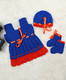 The Original Knit Sleeveless Woolen Dress With Cap And Booties - Blue Orange