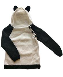 The Original Knit Hooded Sweater Panda Design - Black White