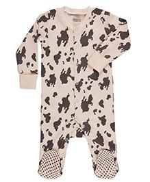 Pranava Attractive Print Sleepsuit - Off White & Black