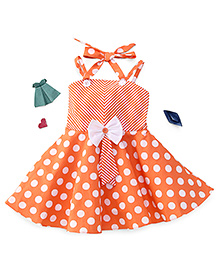 Enfance Dot Printed Dress With A Bow - Orange