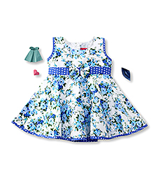 Enfance Classy Rose Prints With A Bow - Blue