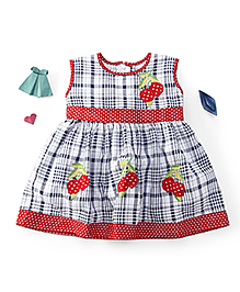 Enfance Checks With Polka Print Casual Dress - Red & White