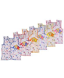 MomToBe Sleeveless Panda Design Jhabla Vests Pack Of 6 - Multicolor