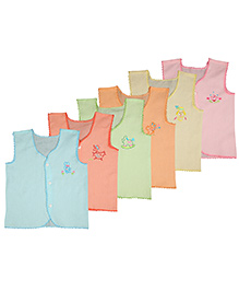MomToBe Sleeveless Embroidered Jhabla Vests Pack Of 6 - Multicolor