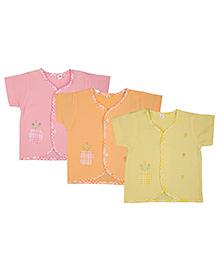 MomToBe Half Sleeves Embroidered Jhabla Vests Pack Of 3 - Pink Orange Yellow