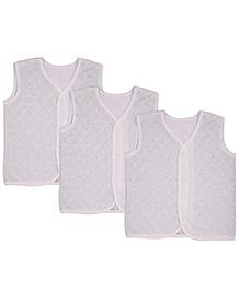 MomToBe Sleeveless Self Design Jhabla Vests Pack Of 3 - Pink