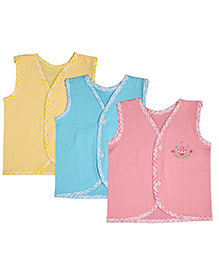 MomToBe Sleeveless Embroidered Jhabla Vests Pack Of 3 -Yellow Pink Blue