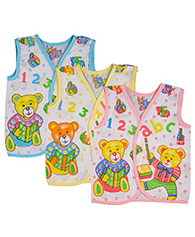 MomToBe Sleeveless ABC Print Jhabla Vests Pack Of 3 - Blue  Yellow Pink