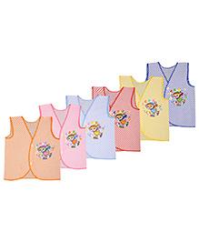 MomToBe Bear Sleeves Stripes Teddy Print Vests Pack Of 6 - Multicolor