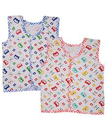 MomToBe Sleeveless Bear Print Jhabla Vests Pack Of 2 - White Red Blue