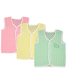 MomToBe Sleeveless Printed Jhabla With Embroidery Pack of 3 - Pink Yellow Green
