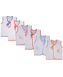 MomToBe Sleeveless Embroidered Jhabla Vests Pack Of 6 - White Multicolor