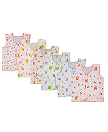 MomToBe Sleeveless Printed Jhabla Vests Pack Of 6 - White Multicolor