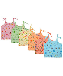 MomToBe Shoulder Tie Knot Style Printed Baby Jhabla Slips Pack Of 6 - Multicolor