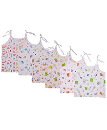 MomToBe Shoulder Tie Knot Style Printed Baby Jhabla Slips Pack Of 6 - White Multicolor
