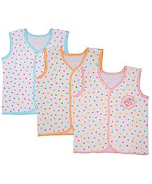 MomToBe Sleeveless Printed Jhabla Vests Pack Of 3 - White Pink Orange Blue