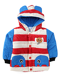 Adores Stripes Hooded Jacket - Blue & Red