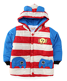 Adores Striped Hooded Jacket With Elephant Design - Blue & Red