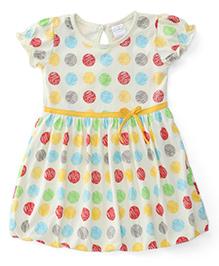 Babyhug Puff Sleeves Frock With Polka Dots - Yellow Multicolor