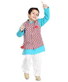 Little Pocket Store Kurta Pajama Jacket Set - Blue & White