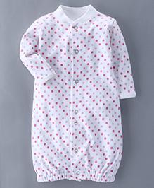 Bachha Essential Full Sleeves Convertor Gown Polka Dots Print - Pink
