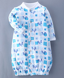 Bachha Essential Full Sleeves Convertor Gown Tricycle Print - Blue
