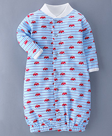 Bachha Essential Full Sleeves Convertor Gown Cars Print - Blue Red