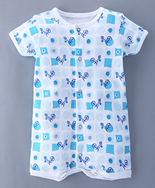 Bachha Essential Short Sleeves Romper Tricycle Print - Blue