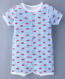 Bachha Essential Short Sleeves Romper Cars Print - Red Blue