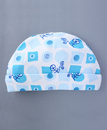 Bachha Essential Baby Cap Tricycle Print - Blue