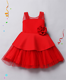 Babyhug Sleeveless Party Wear Frock With Floral Applique - Red