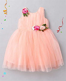 Babyhug Sleeveless Party Frock Floral Corsage - Peach Pink