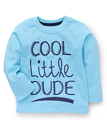 Babyhug Full Sleeves T-Shirt Cool Little Dude Print - Sky Blue