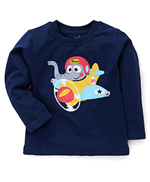 Babyhug Full Sleeves T-Shirt Elephant & Airplane Print - Navy Blue