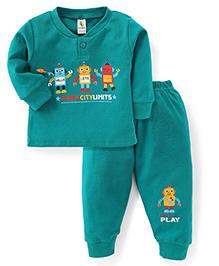 Cucumber Full Sleeves T-Shirt And Legging Robot Print - Green