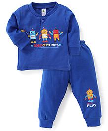 Cucumber Full Sleeves T-Shirt And Legging Robot Print - Royal Blue