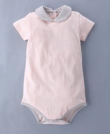 Berrytree Peter Pan Collar Organic Polka Dot Print Onesie - Baby Pink