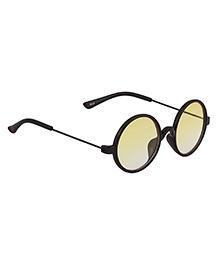 Spiky Classic Round Kids Sunglasses - Black & Yellow