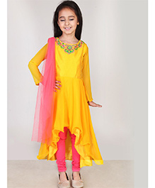 Pre Order : Chiquitita Sequence Embroidered Churidar And Dupatta Set With Beads And Flower Motif - Yellow & Pink