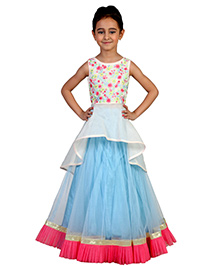 Pre Order : Chiquitita A Floral Embroidered Peplum Top With Lehenga - Blue & Ivory