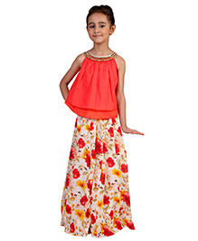 Pre Order : Chiquitita Indo Western Embroidered Two Layered Top With Palazzo - Red
