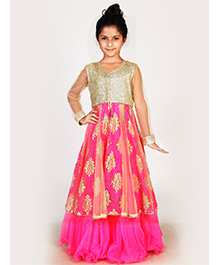 Pre Order : Chiquitita Sequenced Embroidered Net Jacket With Curly Hem Lehenga - Golden & Magenta Pink