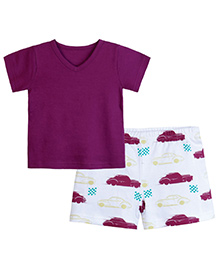 Chic Bambino 4-5Y Orchid & White V Neck Tee Shirt & Shorts With Racing Car