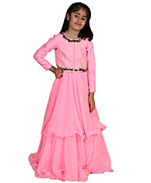 Pre Order : Chiquitita Indian Gown With Zari Embellished Embroidered Jacket - Pink