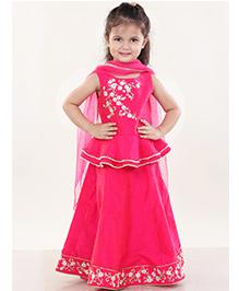 Pre Order : Chiquitita Embroidered Peplum Blouse Lehnga Set - Fuschia Pink