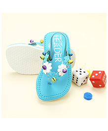 LCL Flip Flop With Back Strap Floral Applique - Blue